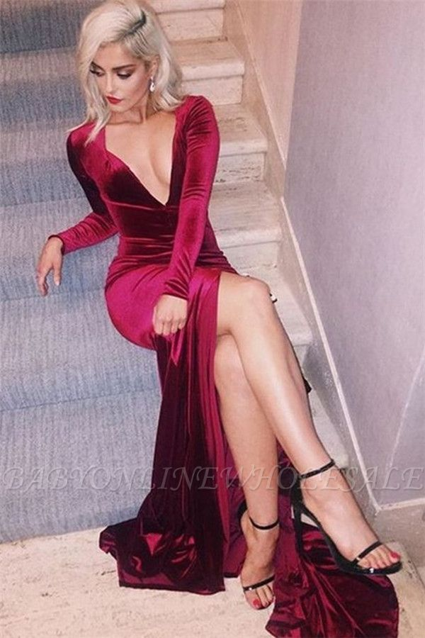 Sexy Deep-V-Neck Long-Sleeves Side-Slit Velvet Prom Dress