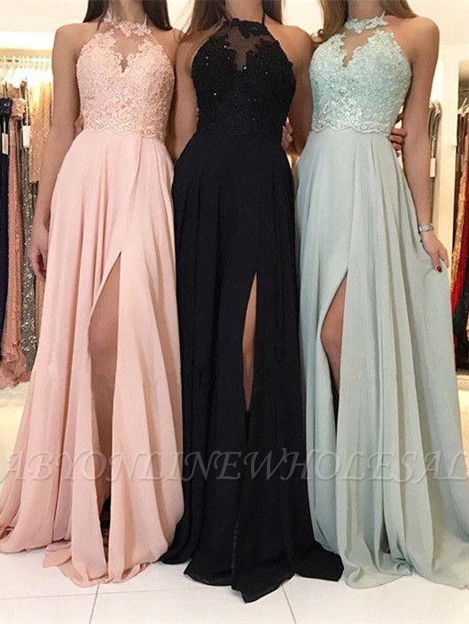 Elegantes Halfter Spitzen Abendkleid | 2021 Langes Chiffon Abendkleid mit Schlitz