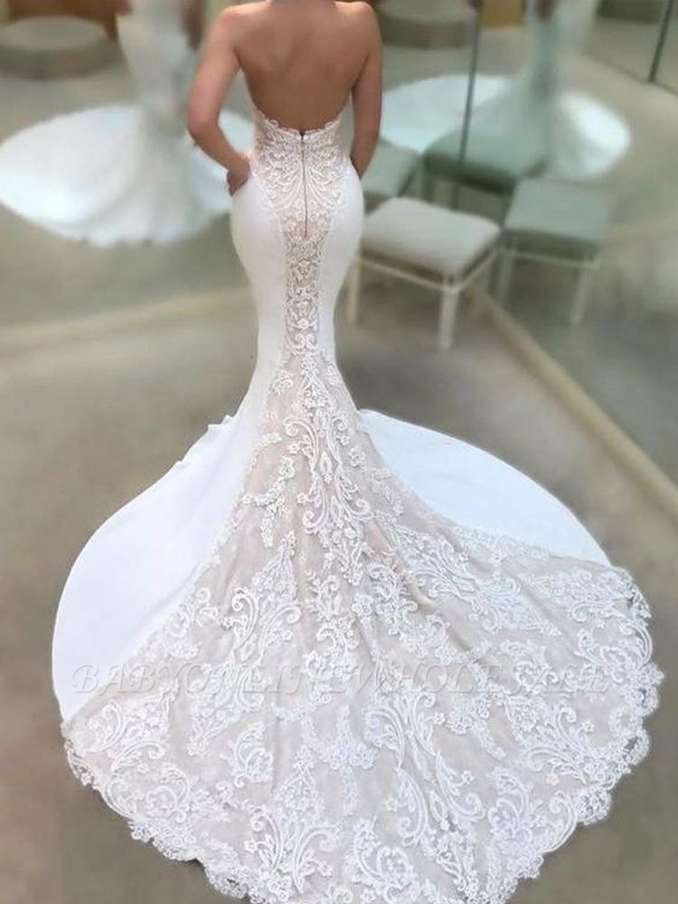 Sexy Strapless Lace Wedding Dresses Online Elegant Mermaid Open Back Bridal Gowns Babyonlinewholesale,Dresses For Wedding Mother Of Groom