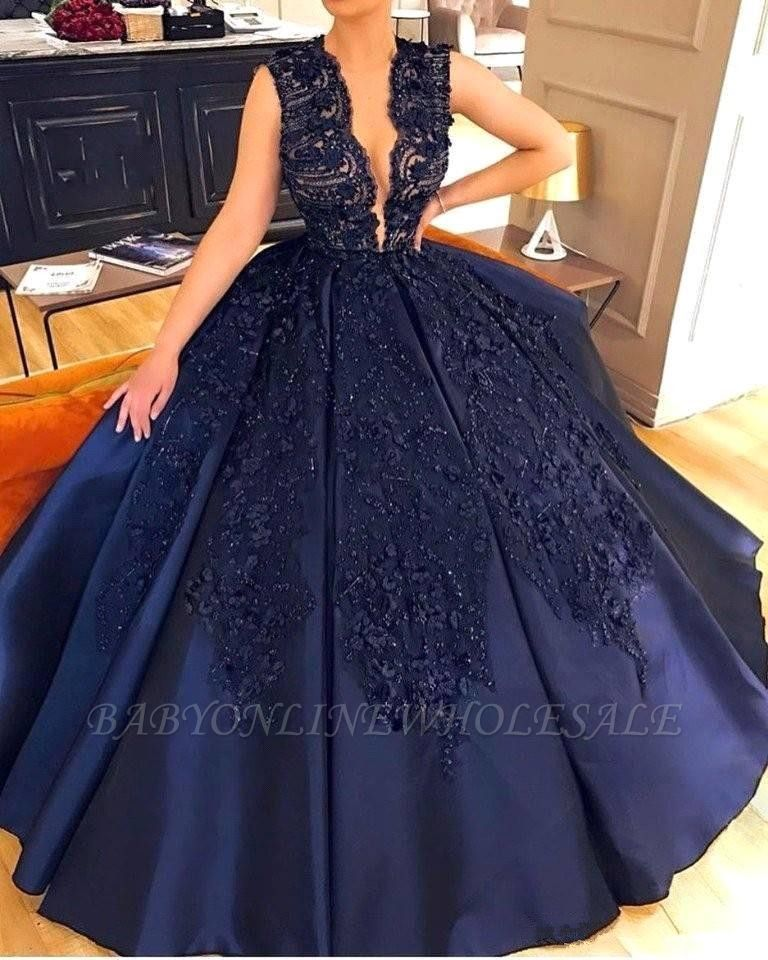 Elegant Dark Navy Lace Appliques Prom Dresses | Online Sleeveless Sexy Evening Gown