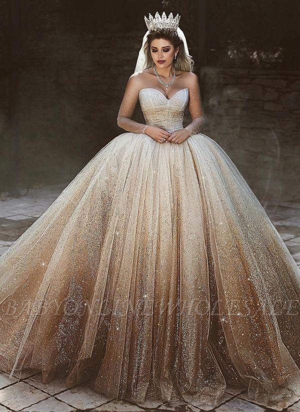 Sparkly Tüll bodenlangen Brautkleider | Scoop Long Sleeves Brautkleider mit Pailletten