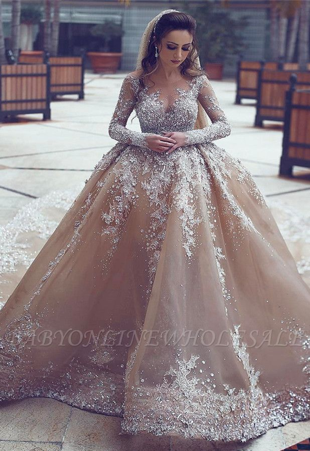 Luxurious Long-Sleeve Beadings Ball-Gown Appliques Wedding Dress