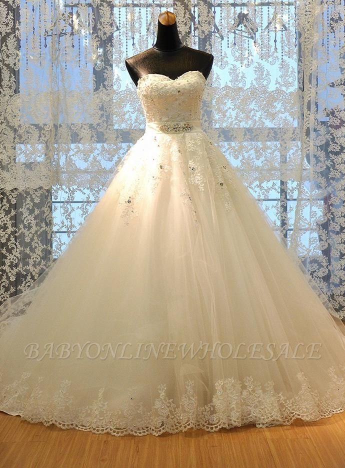 Crystal Lace Sweetheart Bridal Dresses Chapel Train Elegant Lace-Up Wedding Dresses
