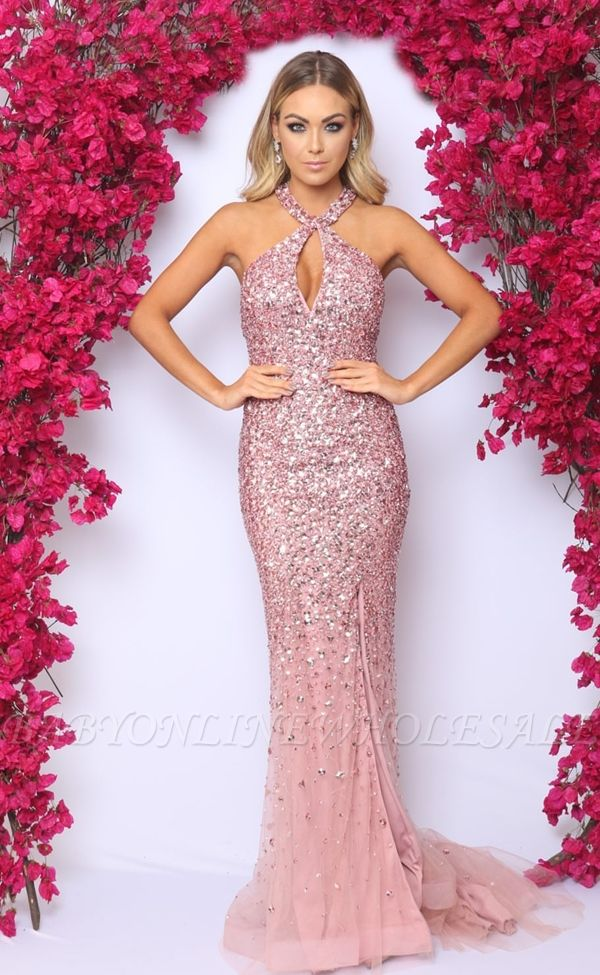 Pink Sleeveless Mermaid Evening Dresses Online | Sexy Crystals Side Slit Cheap Prom Dress