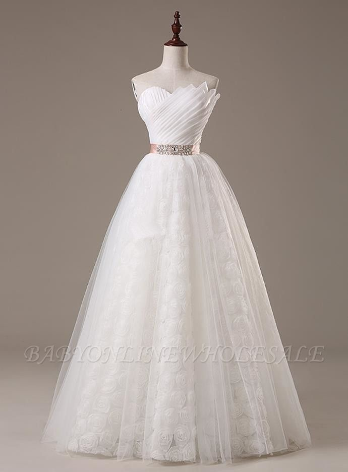 Sweetheart Lace Sash Wedding Dresses Lace-Up Bowknot Sleeveless Bridal Gowns