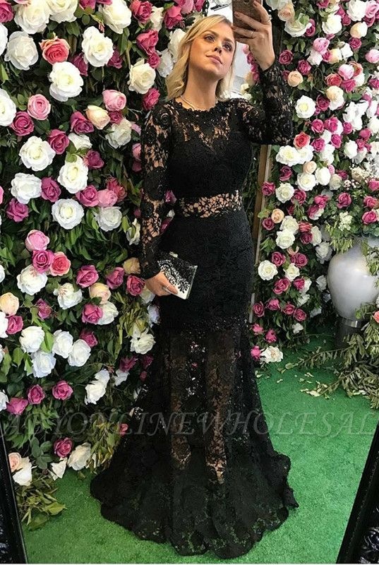 Sexy Black Long Sleeve Lace Prom Dress Sheer Party Gowns On Sale