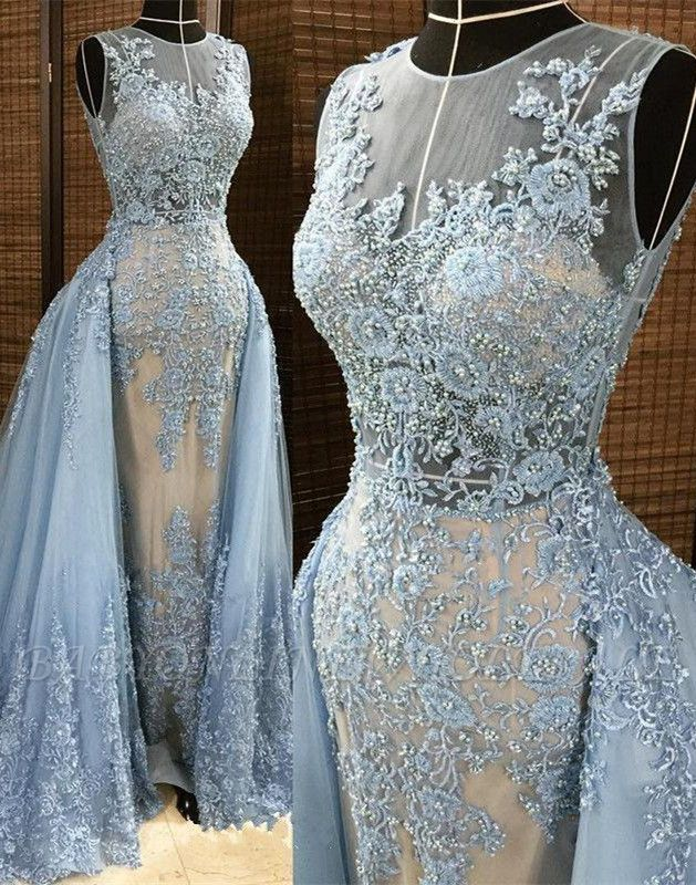 Gorgeous Column Sleleveless Long Evening Dresses | Lace Appliques Beading Sexy Prom Dress with Overskirt