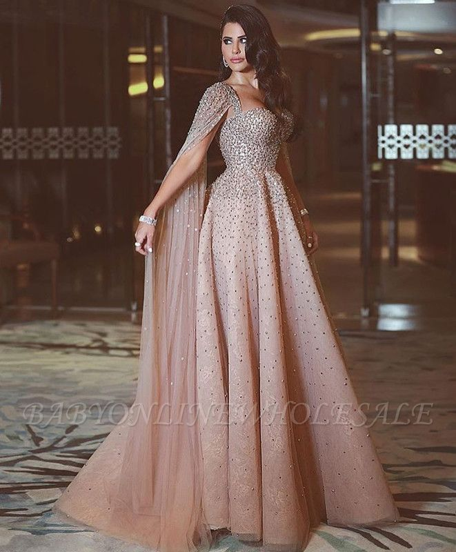 Luxurious Ruffles Crystal Evening Dress Sweetheart Long Party Gowns