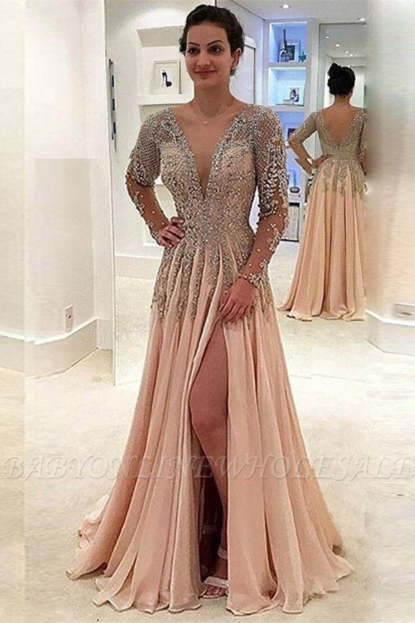 Glamorous V-Neck mangas compridas Prom Dresses | A linha de cristal Side Slit Evening Vestidos