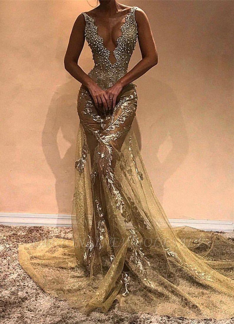 Glamorous Beads Straps Sleeveless Mermaid Evening Gown | Long Evening Dress