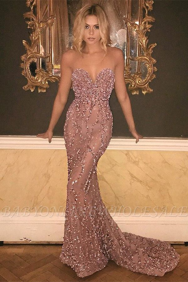 Sweetheart Sexy Pink Beads Sequins Prom Dress | Mermaid See Through Evening Gown