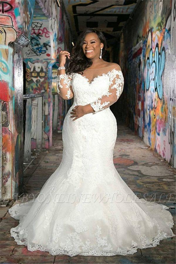 Manches longues col en V, plus la taille des robes de mariée sirène pour le mariage