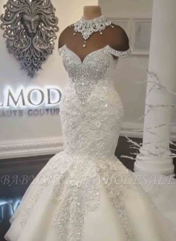 Luxury Crystals Mermaid Wedding Dresses | Off-the-Shoulder Appliques Bridal Gowns