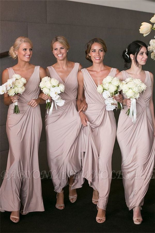Elegantes V-Ausschnitt Brautjunfer Kleid Billig | Langes Brautjungferkleid Online Kaufen BA7824