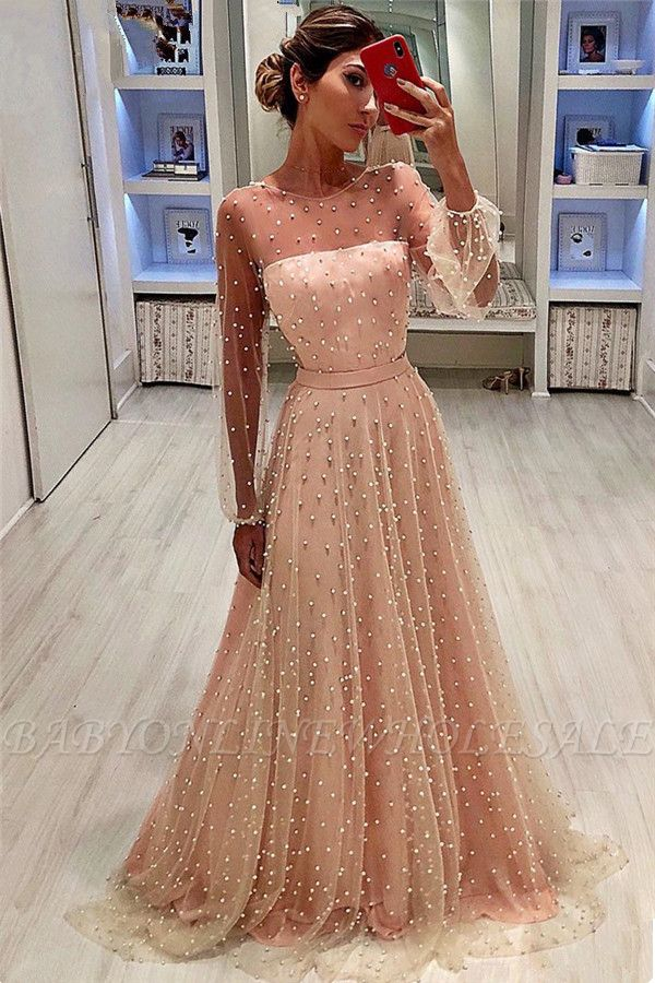 See Through Tulle Bubble Sleeves Prom Dress | Full Beading Long Sleeve Evening Dresses BC0617