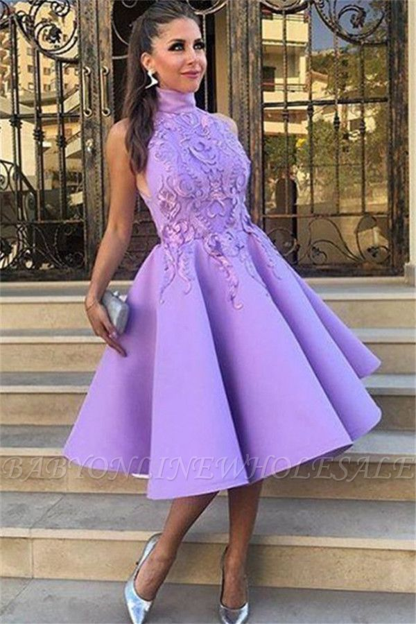 High Neck Lavender Lace Appliques Sexy Evening Gowns | Sleeveless Knee Length  Formal Evening Dresses