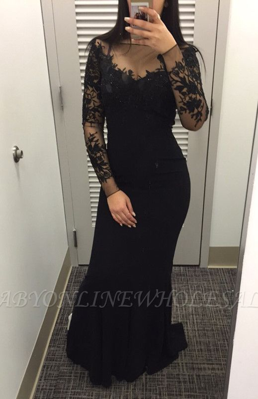 Sexy Black long Sleeve Evening Dress Mermaid