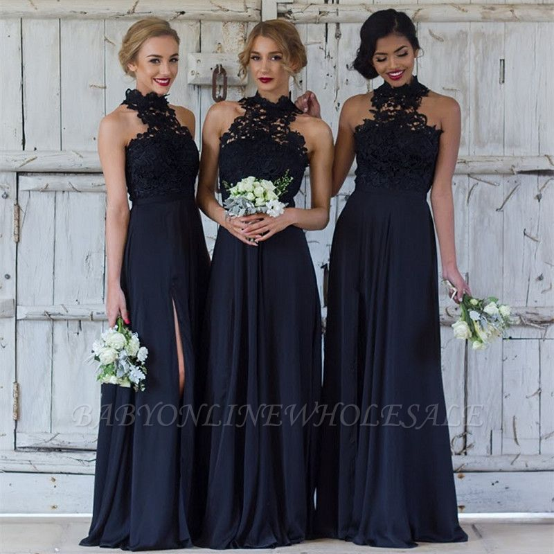 Halter Lace Chiffon Bridesmaid Dress with Split Sleeveless Cheap Sexy Maid of Honor Dresses