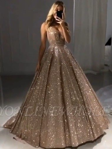 f382fbc3016 Shiny Gold Ball Gown Evening Dresses | Sexy V-Neck Sequin Prom Dresses |  Babyonlinewholesale