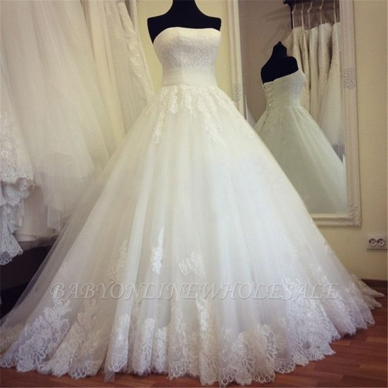 Strapless Lace Ball Gown Wedding Dress Lace Up Bridal Gowns