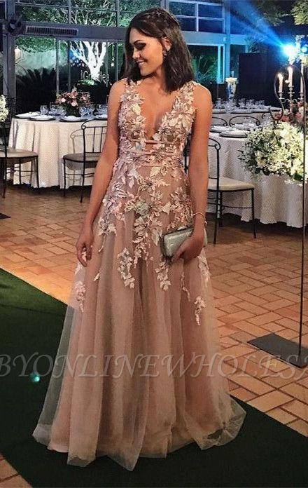 Modern Lace Appliques A-line Straps Sleeveless Long Prom Dress | Plus Size Prom Dress BA8338