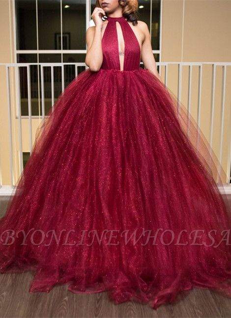 Gorgeous High-Neck Tulle Evening Dress Ball Gown Prom Dress
