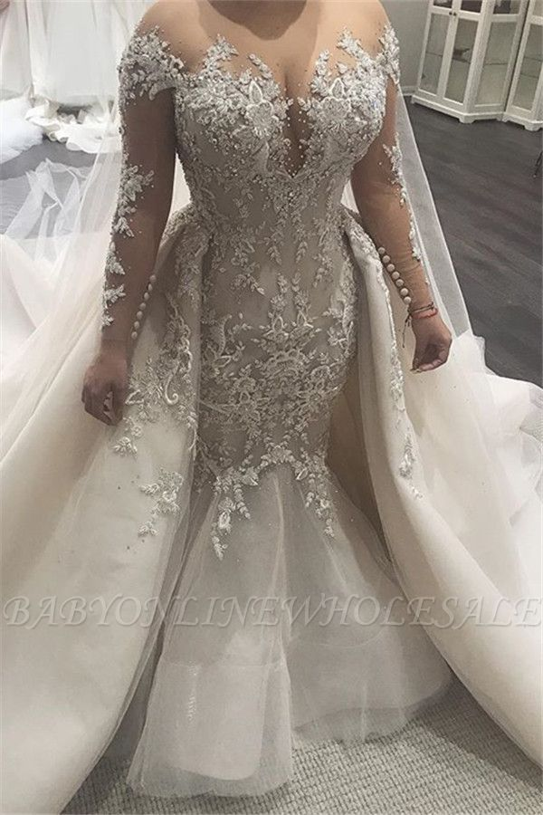 Beautiful Mermaid Wedding Dresses with Tulle Overskirt| Sexy Lace Dresses for Weddings BC0535