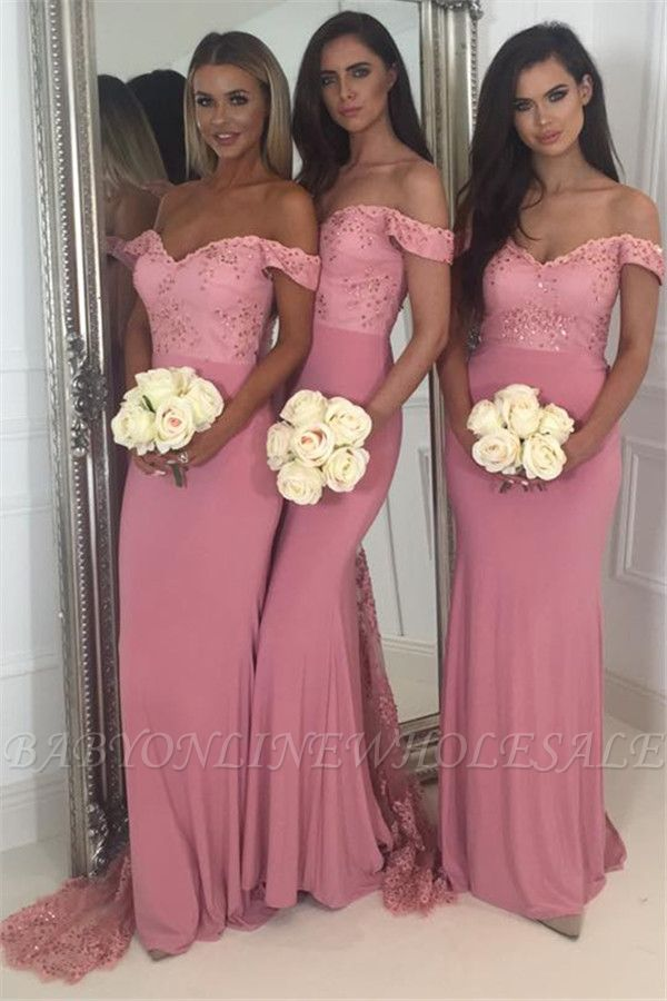 Beads Lace Off The Shoulder Bridesmaid Dress | Open Back Sexy Pink Maid of Honor Dresses BA9882