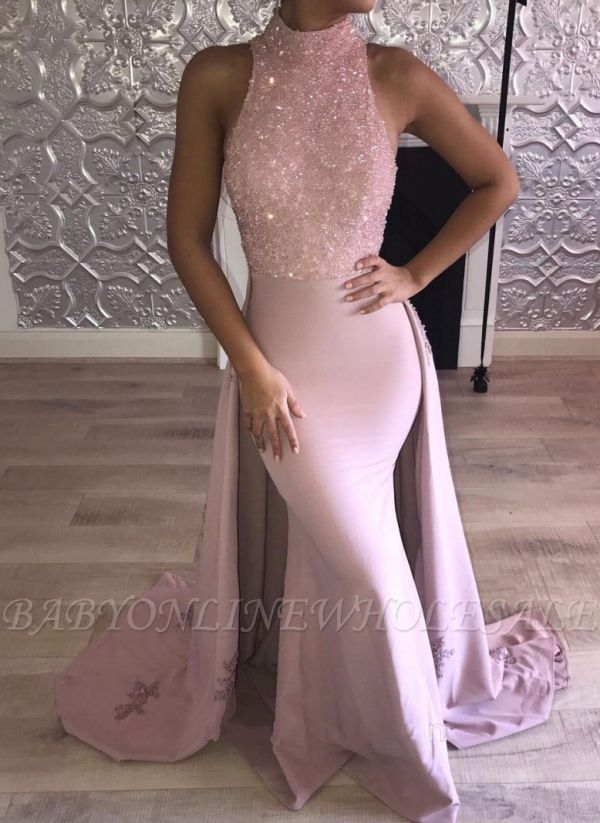 Glittering High Neck Pink Mermaid Prom Dresses with Overskirt