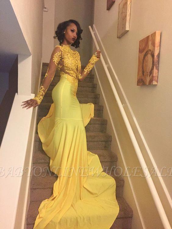 براقة عالية الرقبة أصفر طويل الأكمام الرباط يزين حورية البحر فستان حفلة موسيقية