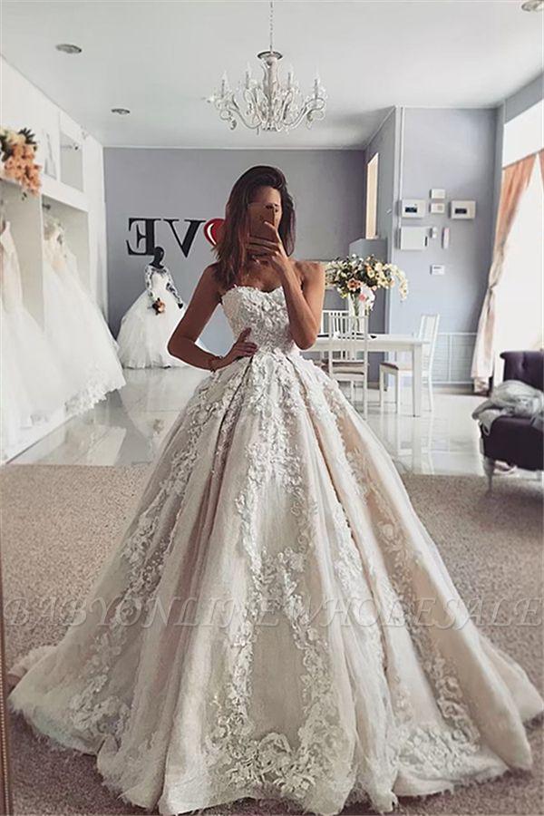Trendy Ivoire Sweetheart robe de bal robe de mariée en ligne