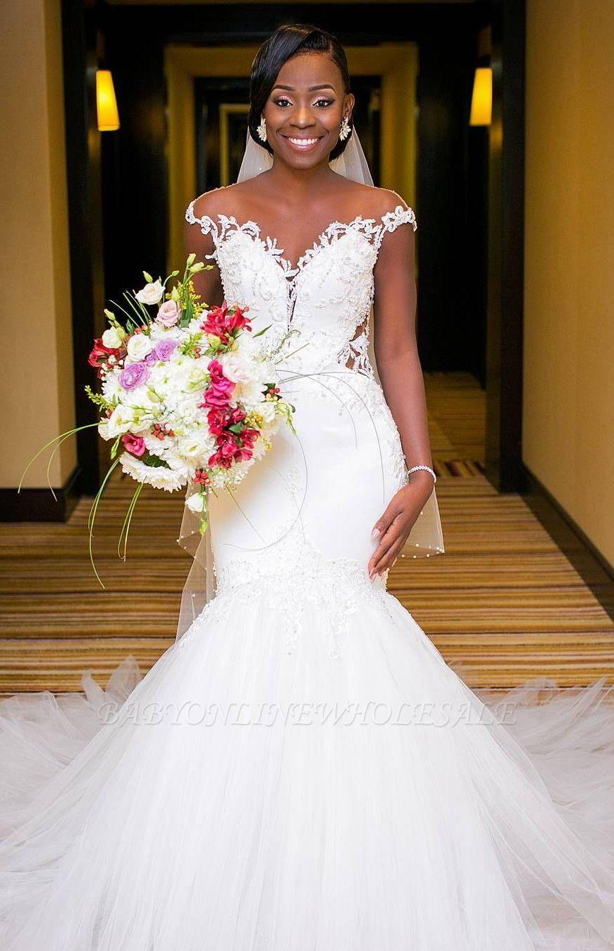 2021 Romantische weiße Meerjungfrau Cap Sleeve Brautkleid   Neuankömmling Tüll Brautkleid