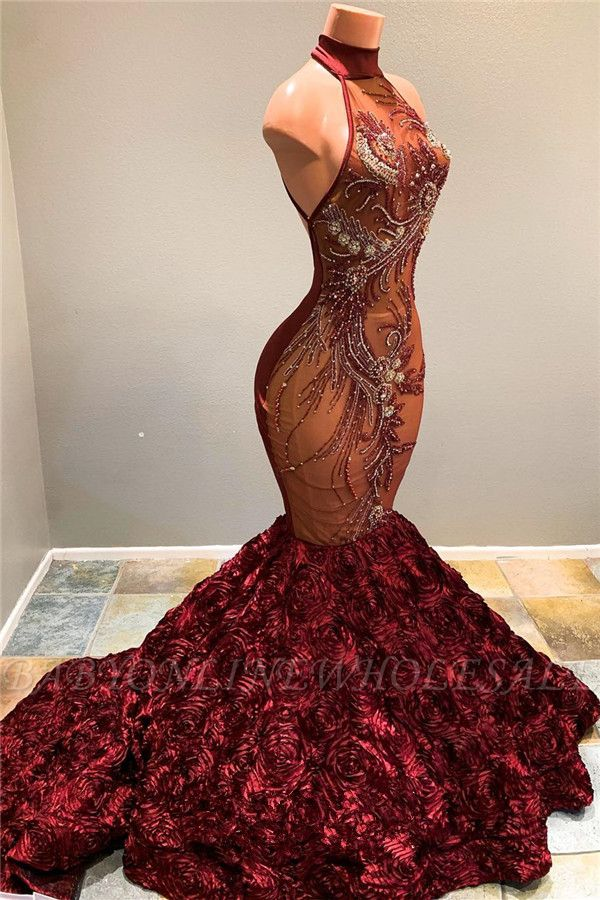 Baratos Halter Fit e Flare Flowers Maroon Prom Dresses | Vestido de noite de luxo de lantejoulas de grânulos completos bc1634