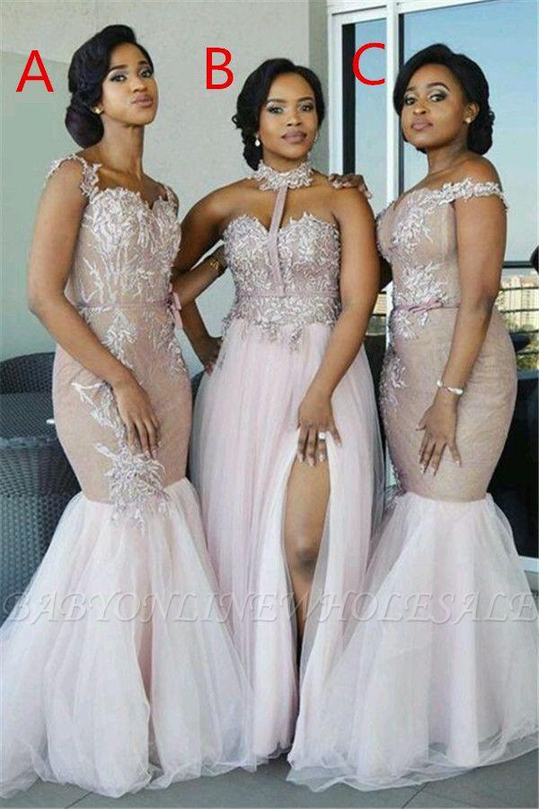 Elegant Pink Tulle Bridesmaid Dresses | Appliques Wedding Party Dress