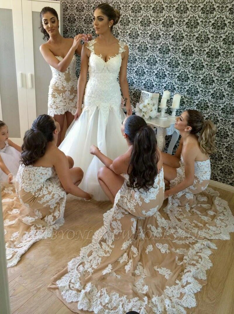 Lace High Low Affordable Bridesmaid Dresses Sweetheart Alluring Prom Dresses