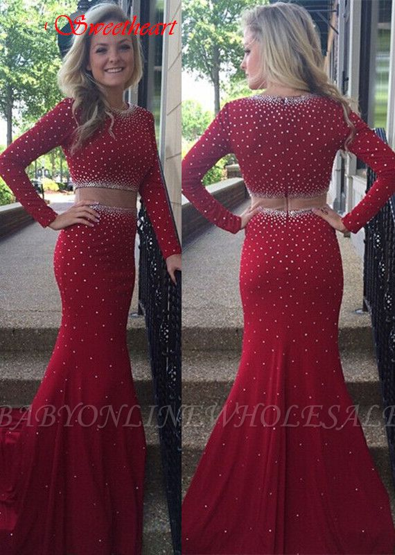 9ef02077349 Glamorous Long Sleeve Beadings Prom Dresses Burgundy Long Long Sleeve