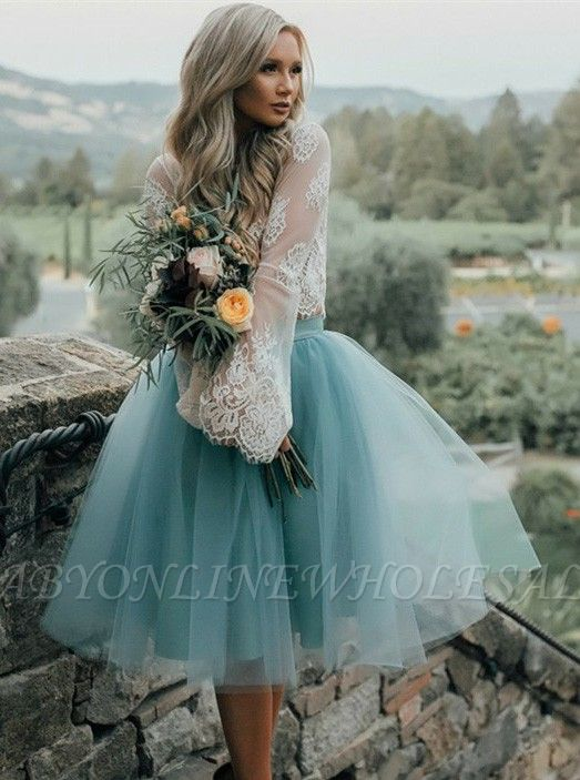 Chic Lace Long Seeves Tutu Tulle  Homecoming Dresses