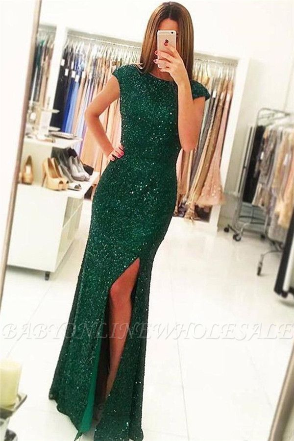 Sparkling Green Sequins Open Back Prom Dress | Sexy Slit Sheath Evening Gowns