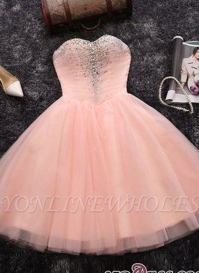Lentejuelas cuentas vestidos de fiesta cortos | Sweetheart Coral Pink Hoco Dress BA6909