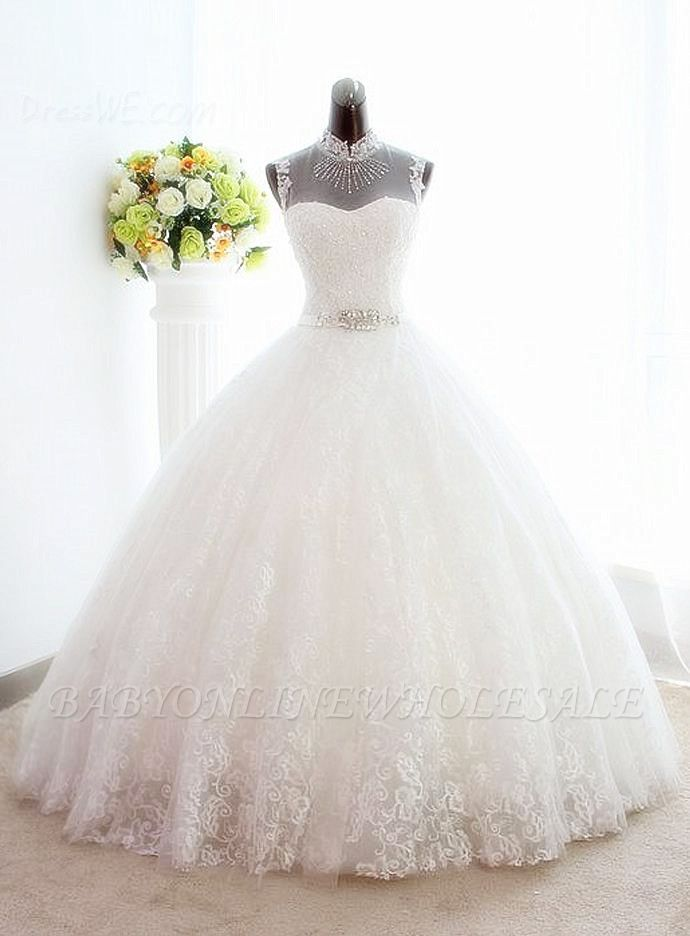 White High Collar Popular Bridal Dresses Lace Sexy Lace-Up Popular Ball Gowns Bridal Dresses