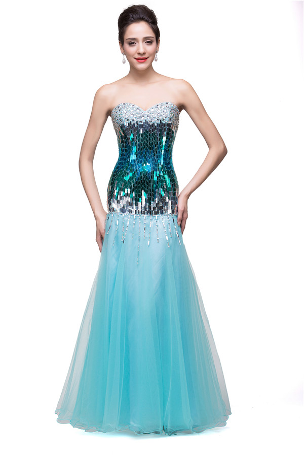 GEMMA | Mermaid Strapless Floor-length Tulle Form Dresses With Sequins