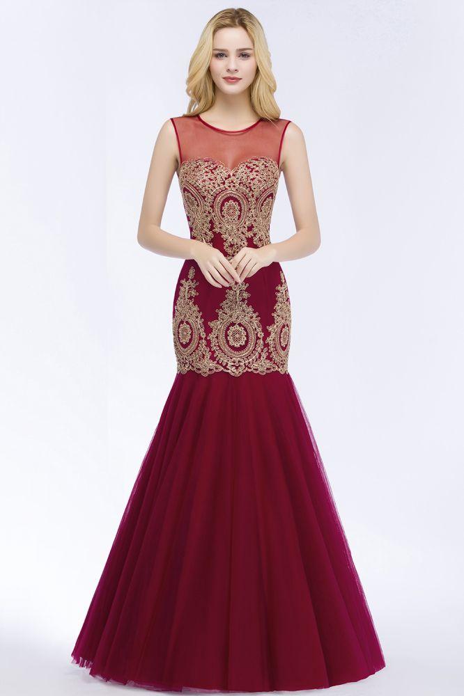 RUBY   Mermaid Sleeveless Sheer Neckline Appliqued Burgundy Tulle Prom Dresses