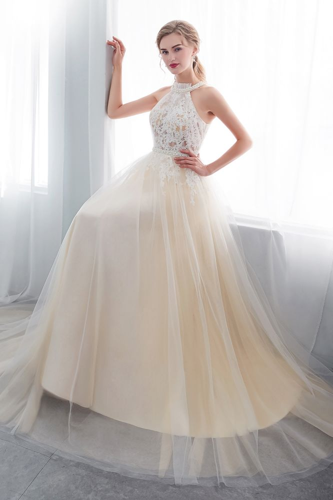 NATALIA   A-line Halter Floor Length Appliqued Tulle Evening Dresses