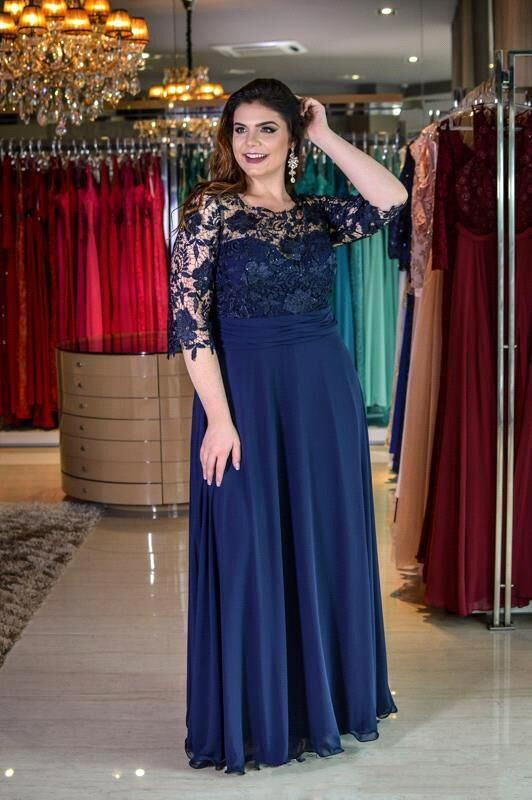 Plus size Half Sleeves Navy Blue Mother of bride Dress   Modest Round neck Lace Bridesmaid Dress for Summer Wedding