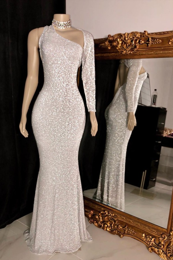 One-shoulder Long Sleeve Silver Sequins Mermaid Prom Gowns