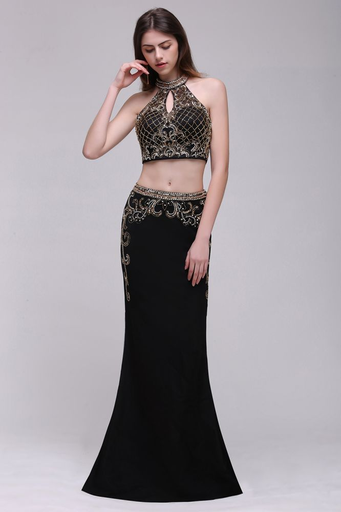 Two piece Long Halter Crystals Beading Black Prom Dresse