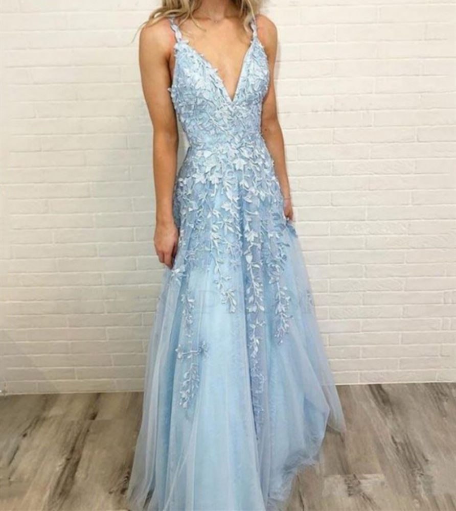 Sky Blue Lace Prom Dresses Deep V Neck A Line Long Party Elegant Floor Length Women Evening Gowns