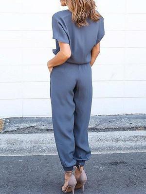 Elegant Loose Black Zipper up V-neck Short Sleeves Jumpsuit_6