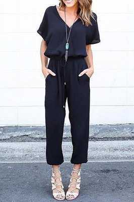 Elegant Loose Black Zipper up V-neck Short Sleeves Jumpsuit