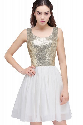 CAROLYN | A-line Scoop Short Sequins White Cute Homecoming Dresses with Sequins_6
